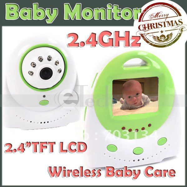 "2.4"" TFT 2.4GHz Wireless Color Camera+Receiver 2-way Talk Baby Monitor Full Kit Freeshipping&Dropshipping(China (Mainland))"