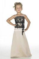 Spaghetti Strap Black Lace Champagne Satin Junior Bridesmaid Dress 2014 FB026