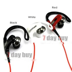 Sport Earphone Athlete Stylish Power Super Bass Metal Ear phone with Bendable Ear Hook, UV coating Headphone Free Shipping(China (Mainland))