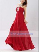 Hot sale!!!!Fashion quality chiffon silk lady  red Bride Wedding party dress Free shipping+wholesale