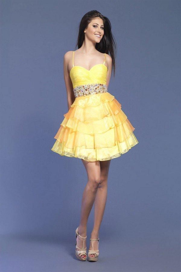 Yellow evening dresses short