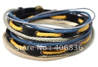 Wholesael  cow leather bracelet hemp and cotton customized leather bracelet D0017