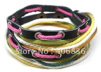 Free shipping fashion bracelet,leather and hemp and cotton,leather bracelet china handmade genuine leather bracelet D0023