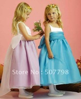 Suqare neckline satin organza Bowknot back tea length girl's dress. ball gown for little girl. Flower girl dress us2-8