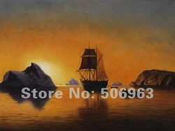 William Bradford- Arctic Scene ,Reproduction Oil Painting,100% Handmade on Canvas(China (Mainland))