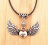 New!! Vintage Tibetan Silver Charm Necklaces Angel Wings Heart Pendant Necklace Love Leather Cord Gift Women's Jewelry 24pcs