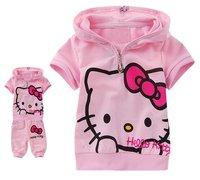 Retail baby cartoon sets suits clothes sleevless shirts+short pants baby cartoon clothing wear 1set free shipping hot