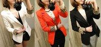 Fashion Women Slim OL Professional Suit Business Dress Jacket Blazer leopard Cuff Sleeve