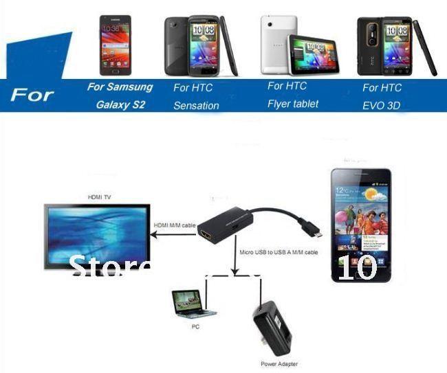 Кабель для мобильных телефонов OEM USB HDMI /HDTV Samsung Galaxy S2 /htc Sensation /htc EVO + 3D user