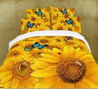 Hot Beautiful 4PC 100% COTTON COMFORTER DUVET DOONA COVER SET QUEEN / KING SIZE bedding set  4pcs golden Sunflower