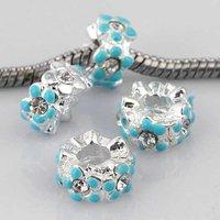 20pcs Blue Enamel Crystal Flower European Beads Fit Charm Bracelet Silver Plate