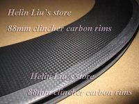 Wholesale Cheap 88mm Depth 23mm Width Carbon Fiber Rim Clincher Type 700C Super Light Road Bike Cycling