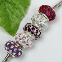 5pcs Mixed Resin Rhinestone European Charm Bead