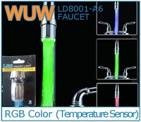 RGB Temperature Controlled Sensor LED Faucet light Copper Glass Waterfall Kitchen Bathroom faucets LD8002-A3
