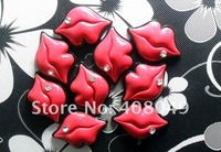Free Shipping!Very popular smooth back resin DIY adornment red lips, cell phone decoration accessories, 25PCS batch of!