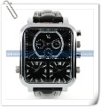 HK or SG post V6 Black Tone Triple Cores/Time Zones Leather Business Air Force Pilot Men Watch 2012(China (Mainland))