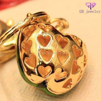 Cute crystal heart green apple metal craft keychain