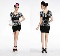 Leopard print one shoulder bag hip small formal attire Sexy short skirt of inclined shoulder evening dress