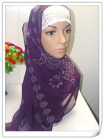 100% guaranteed beaded black muslim hijab with inner,islamic  long shawels with inner caps accept   lz032