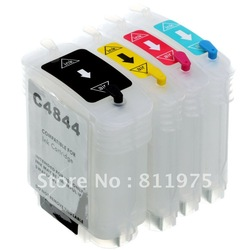 for HP 10 11 refillable Ink cartridge for HP1000 2000 CP1700 2600 Design100 plus110 C4844A C4836A C4837A C4838A free shipping(China (Mainland))