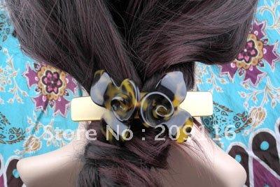 Unique Wholesale 20pcs/lot Leopard France Cellulose Acetate Double Flowers Barrettes Hair Clips