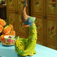 Free shipping wholesale and retail new Sri Lanka colorful resin peacock desk craft decoration
