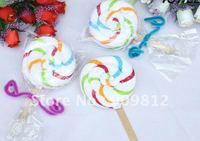 Free Shipping Striped lollipop cake towel, Gift towel, Wedding return gift, 100% cotton, 40g 100pcs/lot