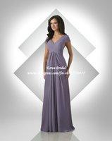 Wholesale Hot Selling V-neck Pleated Chiffon Long Purple Bridesmaid Dresses With Short Sleeve FB090