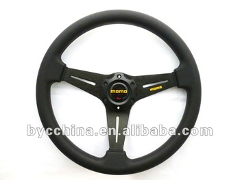 Free Shipping  HOT Sale Cheapest MOMO Black PU Flat Steering Wheel