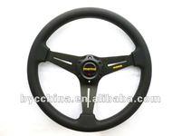 Free Shipping !!  HOT Sale Cheapest MOMO Black PU Flat Steering Wheel