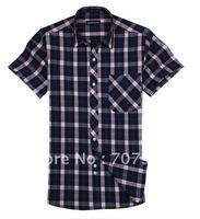 BOZE silk jersey quality goods man cotton shirt grid leisure cotton shirt  #3691