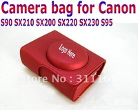 Free Shipping Leather Camera Bag for S90 SX210 SX200 SX220 SX230 S95,camera pouch with Shoulder Belt/Strap for Canon,3 color