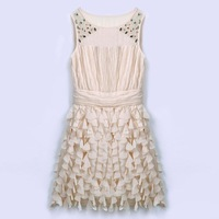 Summer New Women's Handmade Beads Slim  Chiffon Dress Evening Dress, Ladies Fashion Temperament Dress