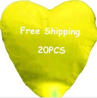 Promotion 20 pcs/Lot Love Pure Yellow Color Heart Sky Lanterns Free shipping
