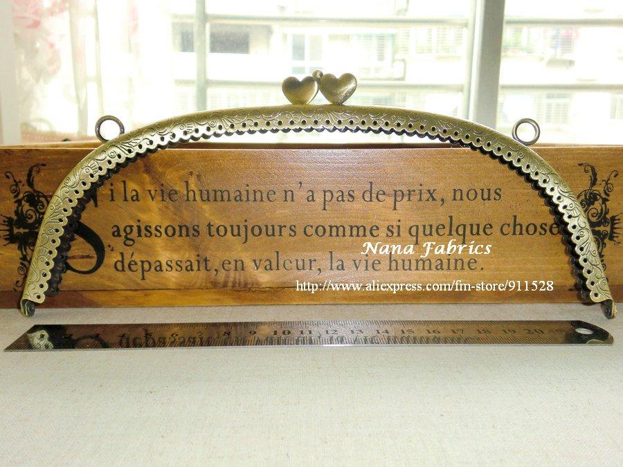 "Free Shipping!Good Quality 24.5cm/9.6"" Heart-shape Hasp Metal Handbag Frame Antique Brass Color Wholesale 10pcs N1016(China (Mainland))"
