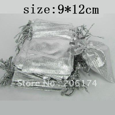 HOT~Factory promotional price Free Shipping Wholesale 9*12cm Gift Shopping Bags silver Gauze Cloth Packing Pouches(China (Mainland))
