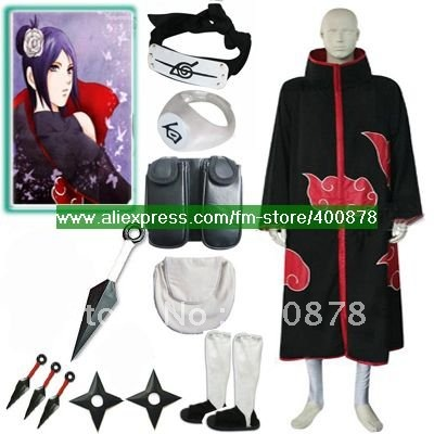 HOT!!! FREE SHIPPING Naruto Akatsuki Konan Cosplay Costume Set any size for cosplay and halloween(China (Mainland))