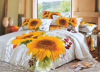 Hot Fashion New  Beautiful 100% Cotton 4pc Doona Duvet QUILT Cover Set bedding set Queen/  King size Charm sunflower