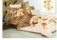 Hot Fashion New  Beautiful 100% Cotton 4pc Doona Duvet QUILT Cover Set bedding set Queen/  King size panther & leopard