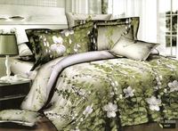 Hot Fashion New  Beautiful 100% Cotton 4pc Doona Duvet QUILT Cover Set bedding set Queen/  King size  Green Vine & leaf