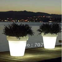 Big size led glowing flower pot  ,plastic material rechargeable remote control  hot led furniture