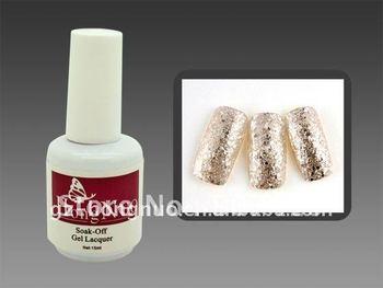 Glitter Silver Soak Off UV Gel Polish 15ml For Nail Art HN1113/6pcs for Free Shipping