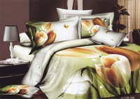 Hot Fashion New  Beautiful 100% Cotton 4pc Doona Duvet QUILT Cover Set bedding set Queen/  King size Colorful tulip