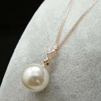 Free shipping+Fashion jewelry Crystals 18K Gold  Drop Bridal Pink Pearl Necklace NEW