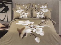 Hot Fashion New  Beautiful 100% Cotton 4pc Doona Duvet QUILT Cover Set bedding set Queen/  King size white Peach Blossom
