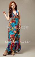 New Women's Peacock Bohemia Halter V-neck Backless High Waist Boho Long Dress#5174~free shipping