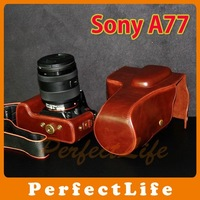 Leather Camera Case Bag for Sony a77 SLT-A77 Black.Brown hot sale A07AZZ006
