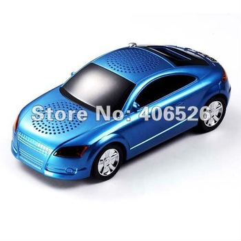 Wonderful sound!  A8 Car Shape mini speaker  FM Radio support  Micro SD Card USB Flash Drive with LCD Screen 3PC/Lot