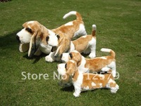 stuffied toy Free shipping,Very cute dog toy,BARKING basset hound stuffed toy dog with real PP cotton.