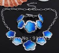 Free Shipping 6sets Fashion Blue Flower Shell Necklace Bracelet Chain Kit, Jewelry Set